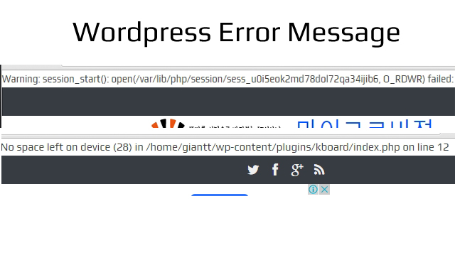 Wordpress-error-메시지